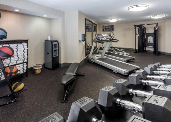 Various workout equipment in the Fitness Center of the Carpinteria Express