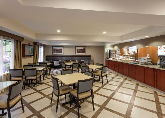Showcase of the seating and food of the Breakfast Room at Carpinteria Express
